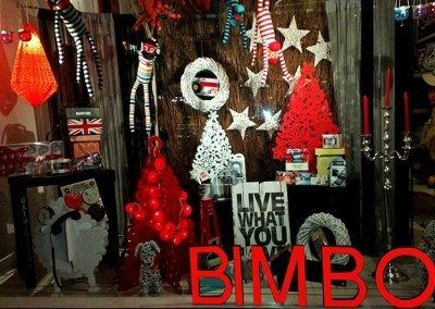 Bimbo window display Christmas gifts for those with a sense of fun