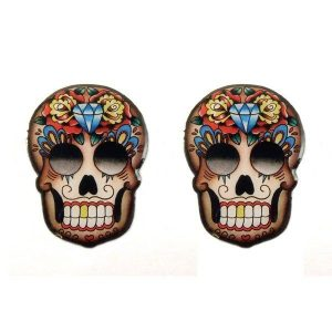mexican skull stud earrings