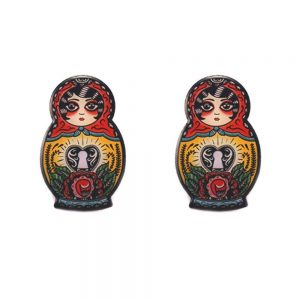 babushka stud earrings
