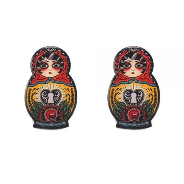 babushka stud earrings