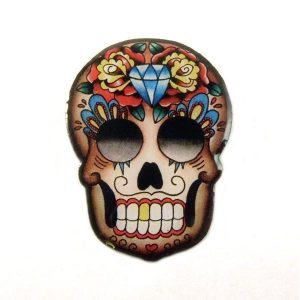 mexican skull brooch