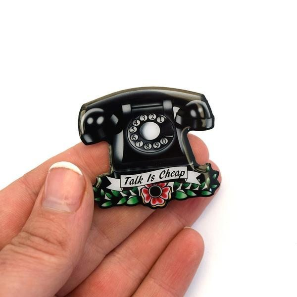 vintage telephone brooch
